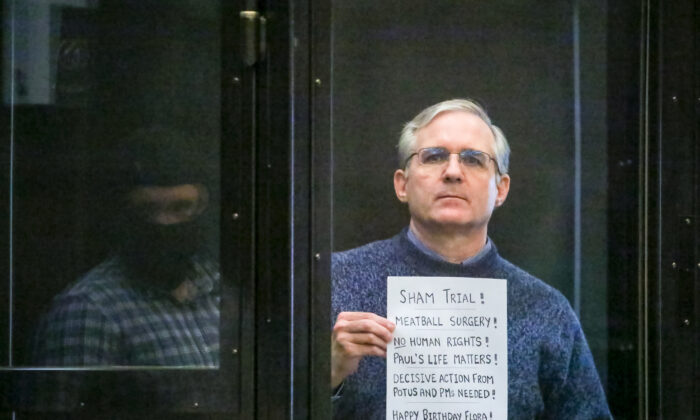 Paul Whelan, a former U.S. Marine who was arrested for alleged spying, listens to the verdict in a courtroom at the Moscow City Court in Moscow on June 15, 2020. (Sofia Sandurskaya, Moscow News Agency photo via AP)