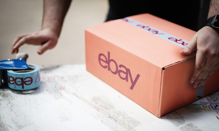 An eBay package is prepared for shipping in London, UK, on April 5, 2020. (Ki Price/Getty Images for Ebay)