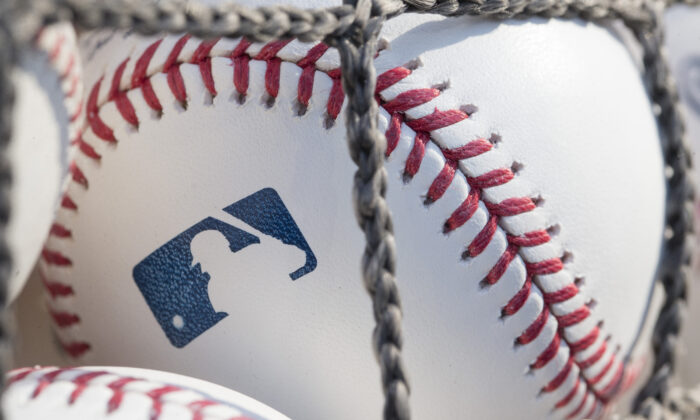 A baseball with MLB logo is seen at Citizens Bank Park before a game between the Washington Nationals and Philadelphia Phillies  in Philadelphia, Pa., on June 28, 2018. (Mitchell Leff/Getty Images)