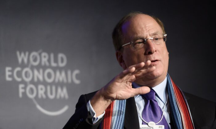 BlackRock Chair and CEO Laurence D. Fink attends a session at the World Economic Forum (WEF) annual meeting in Davos, on Jan. 23, 2020. ( FABRICE COFFRINI/AFP via Getty Images)