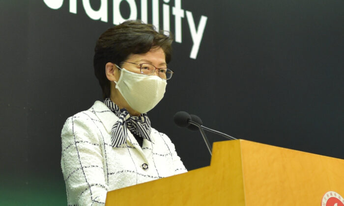 Hong Kong leader Carrie Lam speaks at a press conference in Hong Kong on June 16, 2020. (Bill Cox/The Epoch Times)
