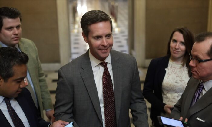 Rep. Rodney Davis (R-Ill.) speaks to members of the media at the U.S. Capitol in Washington, on March 13, 2020. (Alex Wong/Getty Images)