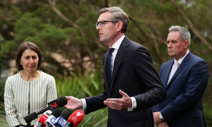 New South Wales Treasurer Dominic Perrottet addresses the media during a press conference to update on COVID-19, at NSW Parliament House on March 17, 2020 in Sydney, Australia. (Mark Metcalfe/Getty Images)