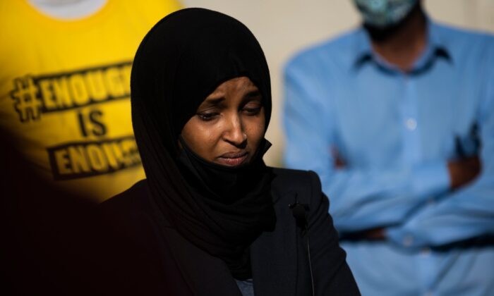 Rep. Ilhan Omar (D-Minn.) listens to questions during a press conference outside the Midtown Global Market in Minneapolis, Minn., on May 30, 2020. (Stephen Maturen/Getty Images)