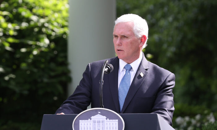 Vice President Mike Pence makes remarks during an event on protecting seniors with diabetes, in the Rose Garden at the White House in Washington on May 26, 2020. (Win McNamee/Getty Images)