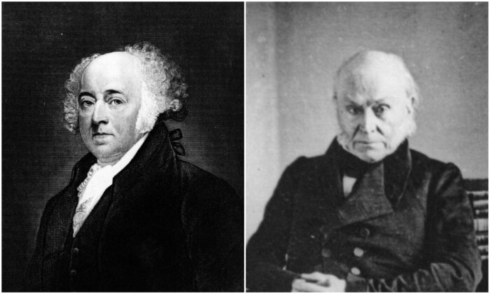 John Adams (L) often wrote to his son John Quincy Adams (R) about the importance of religion and morality to their growth. (Hulton Archive/Getty Images, Henry Guttmann/Hulton Archive/Getty Images)