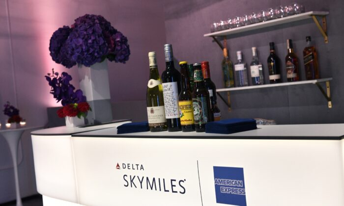A view of a cocktail bar setup during the American Express and Delta Air Lines #DeltaAmex Card Relaunch event at 14th Street Garage in New York City on Oct. 2, 2019. (Bryan Bedder/Getty Images for American Express)