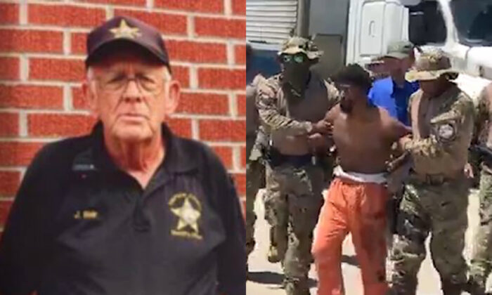 Simpson County deputy James Blair, left, in a file photo. On right, Joaquin Steven Blackwell, who allegedly killed Blair, is arrested on June 13, 2020. (Simpson County Sheriff's Department; MDWFP)