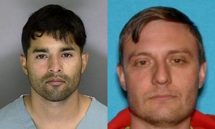 Steve Carrillo (L), and Robert Alvin Justus Jr. were charged in the killing of federal officer David Patrick Underwood. (Santa Cruz Sheriff's Office/AP; FBI)
