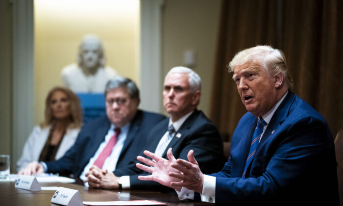 "U.S. President Donald Trump speaks during a roundtable on ""Fighting for America's Seniors"" at the Cabinet Room of the White House June 15, 2020 in Washington. (Doug Mills-Pool/Getty Images)"