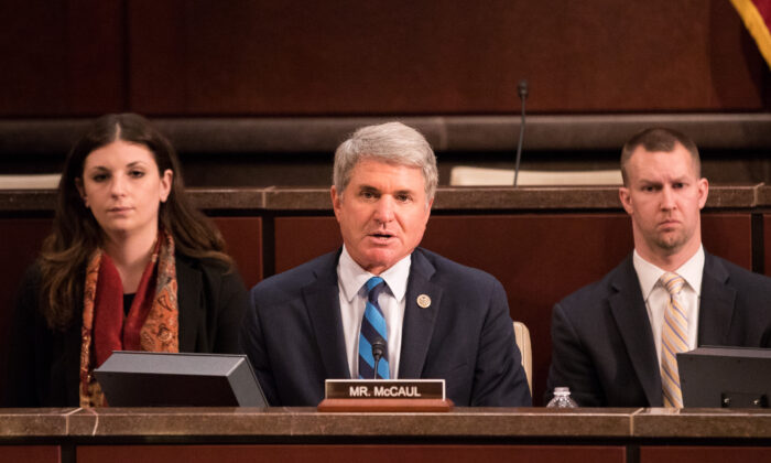 Rep. Michael McCaul (R-Texas) (C) at a congressional hearing with Kevin K. McAleenan (not pictured), commissioner of U.S. Customs and Border Protection, Department of Homeland Security, in Washington on April 25, 2018. (Samira Bouaou/The Epoch Times)