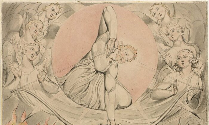 "The top half of ""The Casting of the Rebel Angels Into Hell,"" from the Butts Set of Illustrations for ""Paradise Lost,"" 1808, by William Blake. Watercolor, illustration. Museum of Fine Arts, Boston. (Public Domain)"