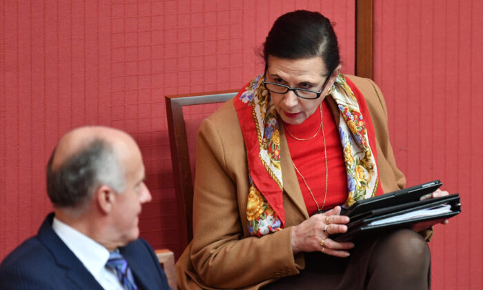 Liberal Senator Concetta Fierravanti-Wells (right) during Senate Business in the Senate at Parliament House on June 17, 2020 in Canberra, Australia. Fierravanti-Wells has called for Australia to slap tariffs on Chinese imports and consider seizing state-owned assets in retaliation for the CCP virus and has escalated her demands for Beijing to pay reparations for the deadly pandemic. (Sam Mooy/Getty Images)