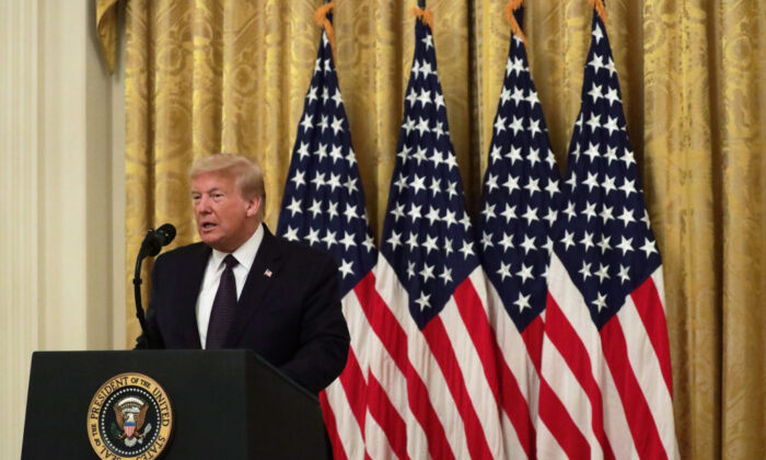 """President Donald Trump speaks during an East Room event to announce the """"PREVENTS Task Force"""" at the White House on June 17, 2020. (Alex Wong/Getty Images)"""