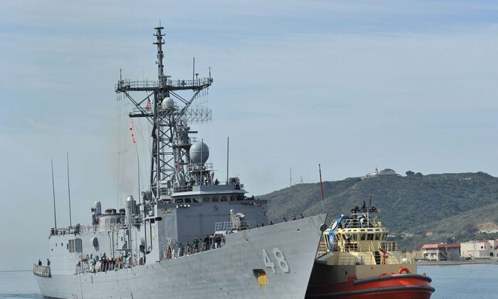The Oliver Hazard Perry-class guided-missile frigate USS Vandegrift (FFG 48) arrives at Naval Air Station North Island in San Diego, on April 9, 2014. (Corey T. Jones/U.S. Navy via Getty Images)