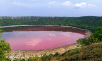 Ancient Crater Lake Formed by Meteor Suddenly Changes Color From Green to Pink, Stuns Scientists