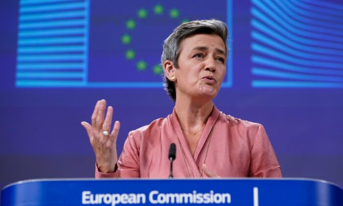 European Commissioner Executive Vice-President Margrethe Vestager talks during a video press conference at the EU headquarters in Brussels, on June 17, 2020. (Kenzo Tribouillard, Pool Photo via AP)