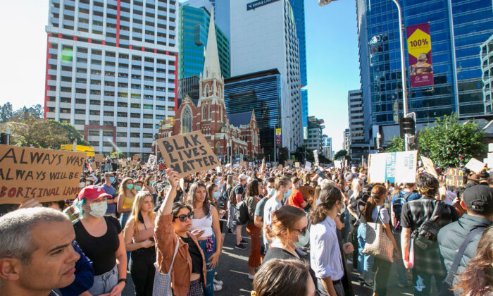 People protest at King George square on June 06, 2020 in Brisbane, Australia. (Jono Searle/Getty Images)