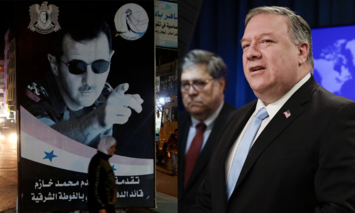 L: A woman walks past a poster depicting Syria's President Bashar al-Assad in Damascus, Syria, on March 5, 2020. (Yamam Al Shaar/Reuters); R: US Secretary of State Mike Pompeo (R) holds a joint news conference on the International Criminal Court with US Attorney General William Barr, at the State Department in Washington on June 11, 2020. (Yuri Gripas/POOL/ AFP via Getty Images)