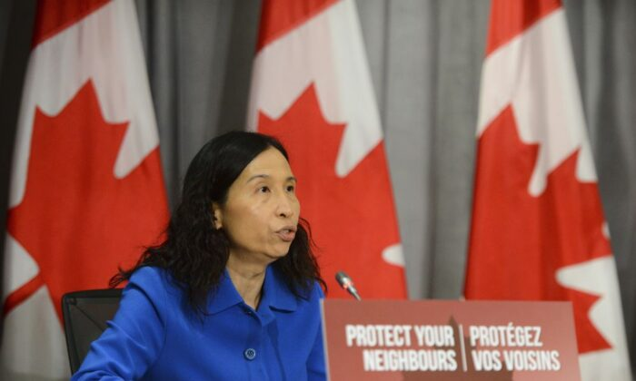 Chief Public Health Officer Dr. Theresa Tam holds a press conference on Parliament Hill amid the COVID-19 pandemic in Ottawa on June 17, 2020. (Sean Kilpatrick/THE CANADIAN PRESS)