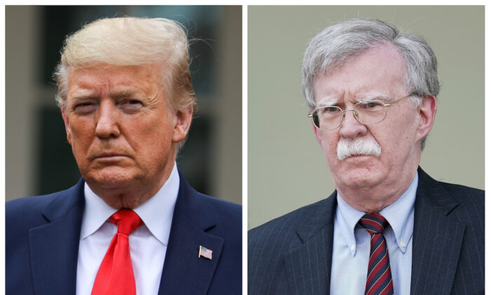 President Donald Trump, left, in the White House Rose Garden in Washington on March 13, 2020. On right, John Bolton outside of the White House West Wing in Washington on April 30, 2019. (Charlotte Cuthbertson/The Epoch Times; Chip Somodevilla/Getty Images)