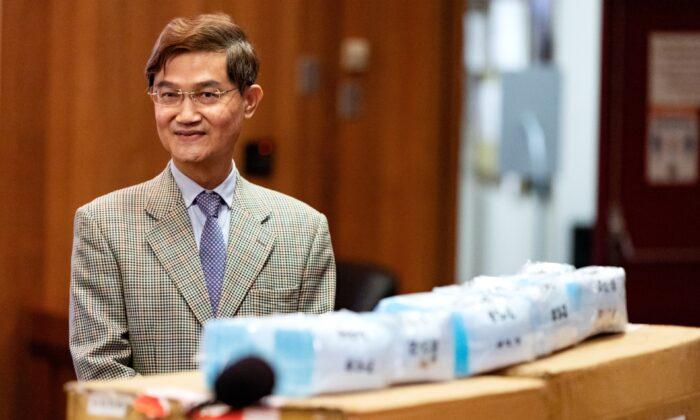 Ambassador Abraham Wen-Shang Chu donates 20,000 surgical masks on behalf of Taiwan to the Orange County Board of Supervisors in Santa Ana, Calif., on June 16, 2020. (John Fredricks/The Epoch Times)