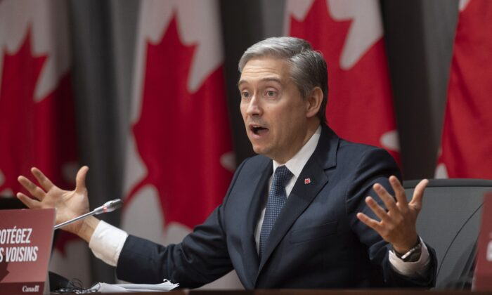 Foreign Affairs Minister Francois-Philippe Champagne speaks at a news conference in Ottawa on April 2, 2020. (The Canadian Press/Adrian Wyld)