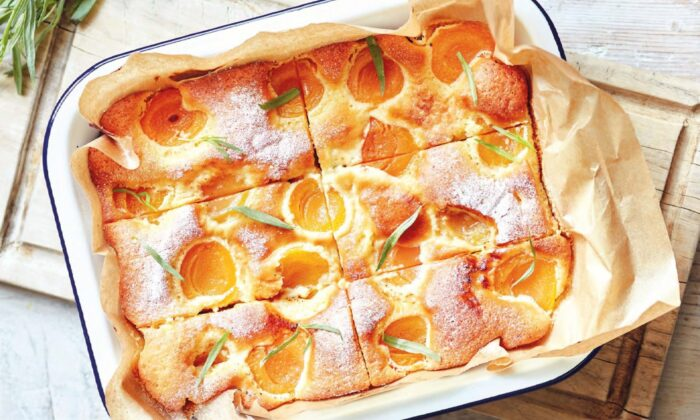 Summer apricots shine in a tender, fluffy yogurt cake, a testament to Romanians' love for baking with fruit. (Jamie Orlando Smith Photography)