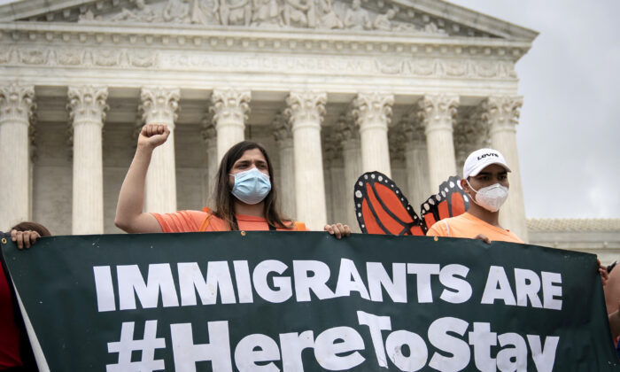 DACA recipients and their supporters rally outside the U.S. Supreme Court in Washington, on June 18, 2020. (Drew Angerer/Getty Images)