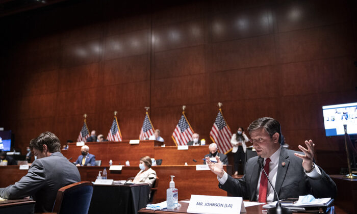 "Rep. Mike Johnson (R-Calif.) speaks during a House Judiciary Committee markup on H.R. 7120 the ""Justice in Policing Act of 2020,"" at the U.S. Capitol in Washington, on June 17, 2020. (Sarah Silbiger/Getty Images)"