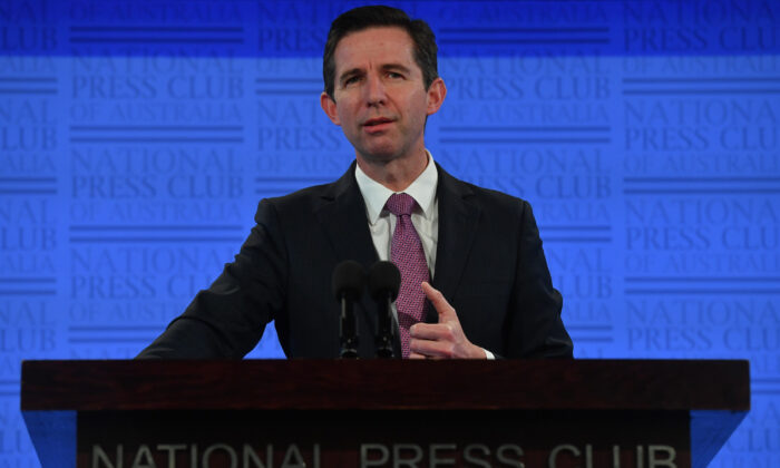 Minister for Trade, Tourism and Investment Simon Birmingham delivers his address to the National Press Club on June 17, 2020 in Canberra, Australia. (Sam Mooy/Getty Images)