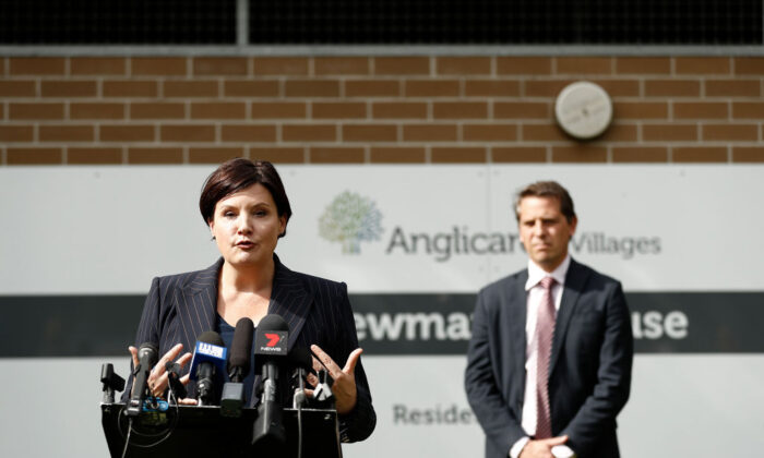 NSW Opposition Leader Jodi McKay speaks as NSW Shadow Health Minister Ryan Park looks on at Newmarch House during the COVID-19 pandemic on April 29, 2020 in Sydney, Australia. (Ryan Pierse/Getty Images)