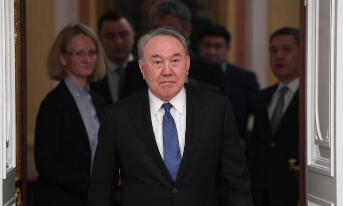 Kazakh former President Nursultan Nazarbayev attends a meeting in Moscow, Russia, on March 10, 2020. (Sputnik/Alexei Nikolsky/File/Kremlin via Reuters)