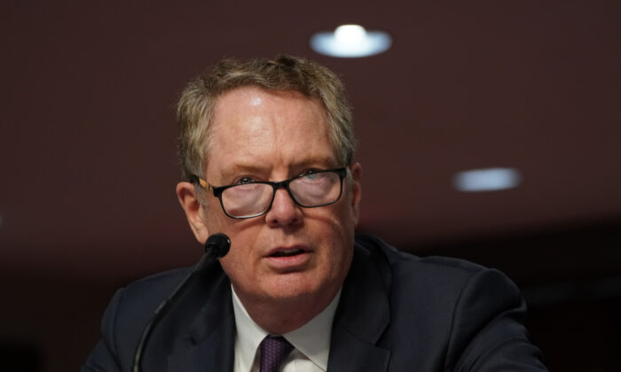 U.S. Trade Representative Robert Lighthizer appears before the Senate Finance Committee in Washington on June 17, 2020. (Anna Moneymaker-Pool/Getty Images)