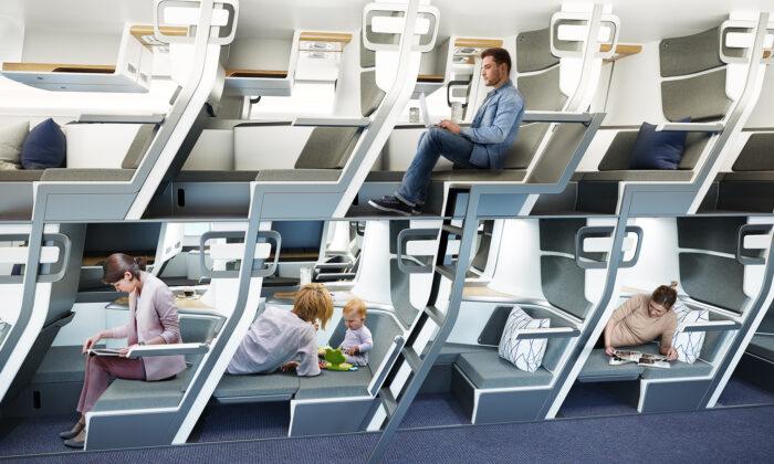 Zephyr Aerospace's double-decker airplane seat concept. (Zephyr Aerospace)