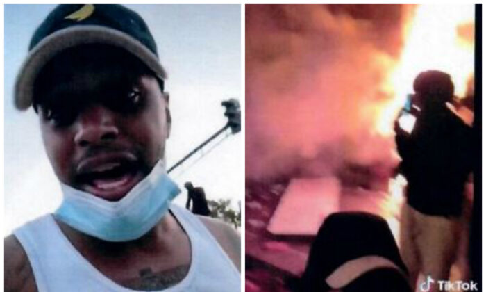 Bryce Michael Williams (L) speaks during a video posted on TikTok on May 28, 2020. (R) A still image from a TikTok video posted on Williams's account shows a man watching as the Minneapolis Police Department's Third Precinct burns. (ATF)