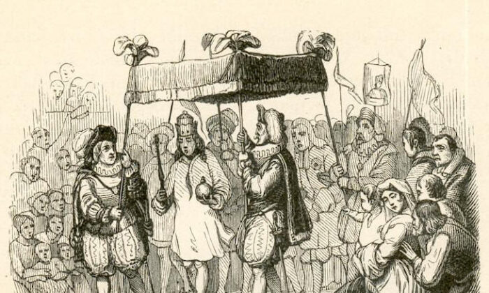 """In 1849, Vilhelm Pedersen illustrated the emperor parading through the streets in his magical new """"clothes"""" for Hans Christian Andersen's """"The Emperor's New Clothes."""" (Public Domain)"""