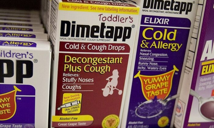 Toddler's Dimetapp cold and cough medicine is seen at a Rite Aid store, on August 15, 2007 in San Francisco, California. (David Paul Morris/Getty Images)