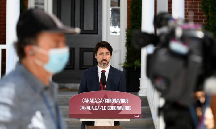 Prime Minister Justin Trudeau speaks during a news conference on the COVID-19 pandemic outside his residence at Rideau Cottage in Ottawa, on June 18, 2020. (The Canadian PressJustin Tang)