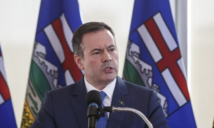 Alberta Premier Jason Kenney speaks during a press conference in Edmonton on February 24, 2020. Alberta's Opposition NDP says having the province quit the Canada Pension Plan is a massive money-losing proposition and that Kenney is pursuing it out of spite against his nemesis, Prime Minister Justin Trudeau.THE CANADIAN PRESS/Jason Franson