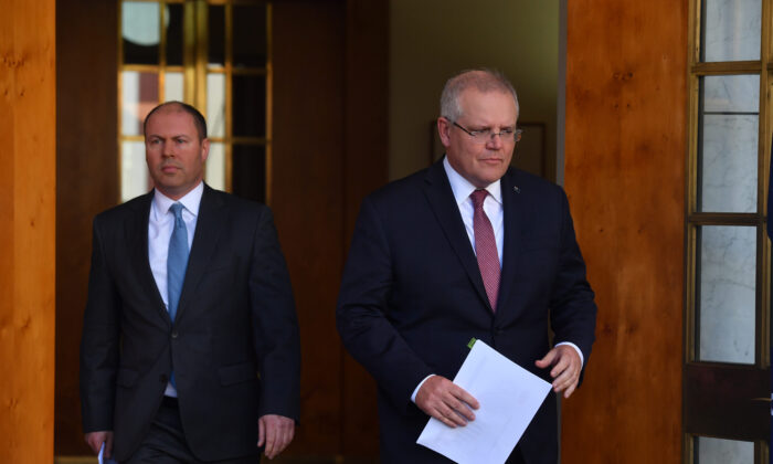 Treasurer Josh Frydenberg and Prime Minister Scott Morrison during a press conference at Parliament House in Canberra, Australia, on June 18, 2020. (Sam Mooy/Getty Images)