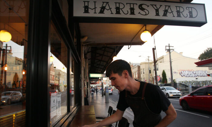 A Waiter on duty  at Hartsyard restaurant in Newtownon June 05, 2020 in Sydney, Australia.  ( Lisa Maree Williams/Getty Images)