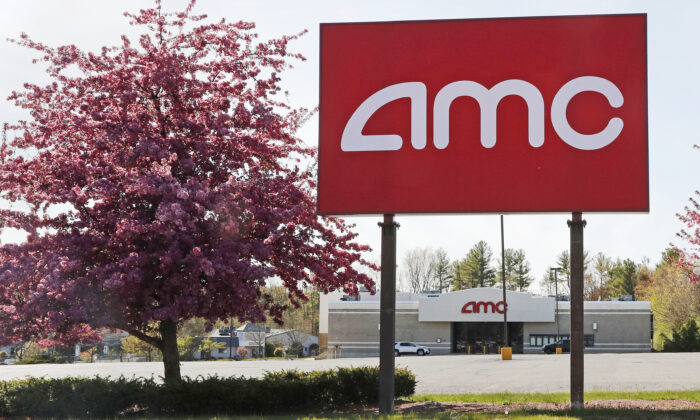 This May 14, 2020, photo shows an AMC theater sign at a nearly empty parking lot for the theater in Londonderry, N.H. (Charles Krupa/AP Photo)