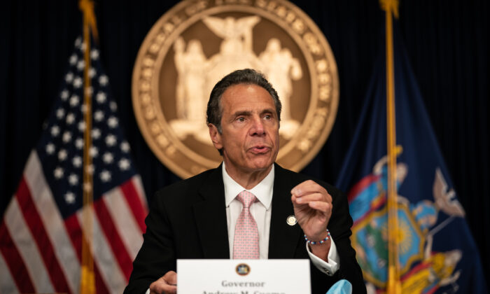 New York Gov. Andrew Cuomo speaks during the daily media briefing at the Office of the Governor of the State of New York in New York City, N.Y., on June 12, 2020. (Jeenah Moon/Getty Images)