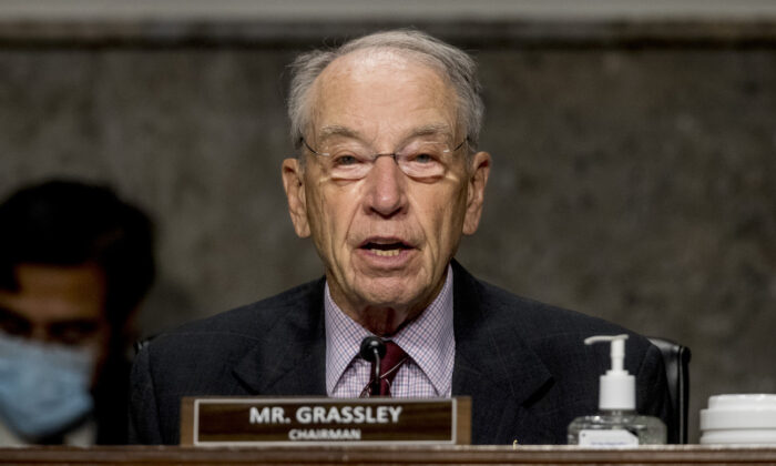 Chairman Sen. Chuck Grassley (R-Iowa) speaks at a Senate Finance Committee hearing on Capitol Hill in Washington, on June 17, 2020. (Andrew Harnik-Pool/Getty Images)