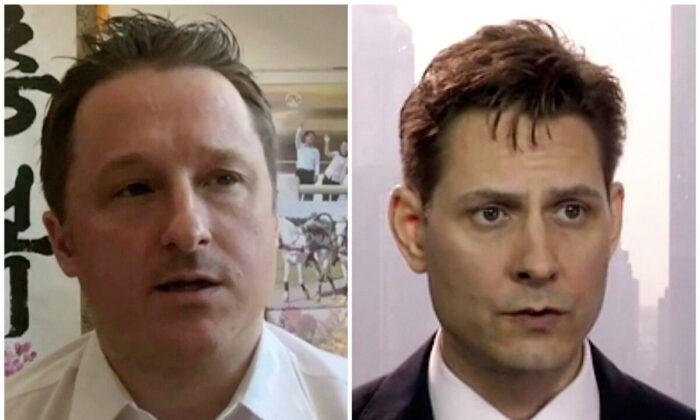 (Left) Michael Spavor, director of Paektu Cultural Exchange, during a Skype interview in Yanji, China, on March 2, 2017. (Right) Michael Kovrig, an adviser with the International Crisis Group, a Brussels-based NGO, during an interview in Hong Kong on March 28, 2018. (AP Photo)