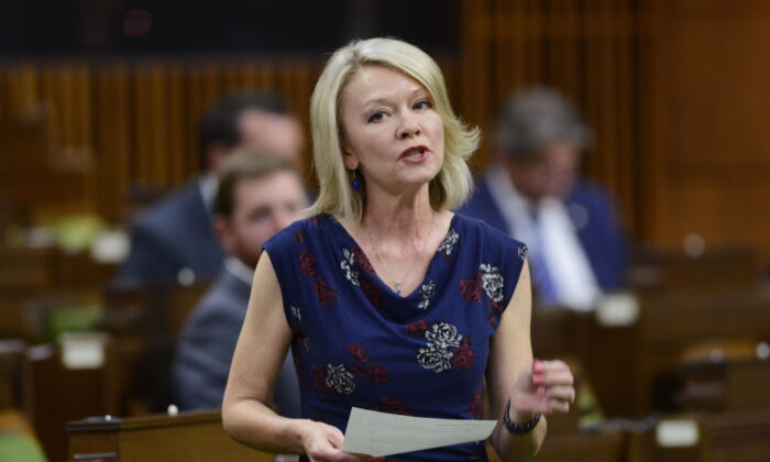Conservative House leader Candice Bergen stands during question period in the House of Commons on Parliament Hill on May 25, 2020. (The. Canadian Press/Sean Kilpatrick)
