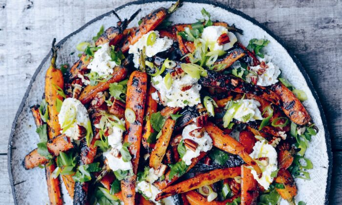 "Grilling carrots brings out their natural sweetness, with transformative results. ""If you've never grilled a carrot before, do it now,"" writes Genevieve Taylor. ""They are an absolute revelation and show just how good fire-cooked vegetables can be."" (Jason Ingram)"