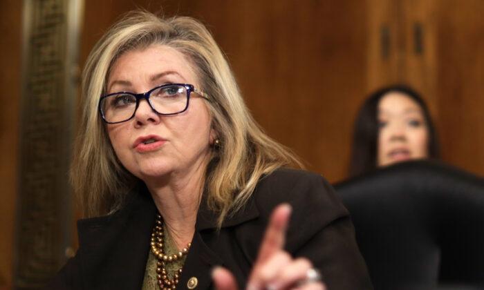 Sen. Marsha Blackburn (R-Tenn.) speaks during a hearing on Capitol Hill in Washington, on Dec. 10, 2019. (Alex Wong/Getty Images)