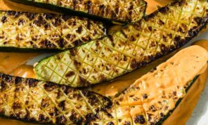 Grilled Zucchini With Red Pepper Sauce